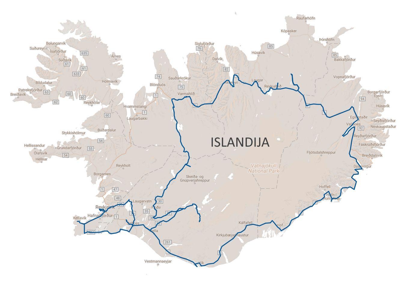 Islandijos žemėlapis